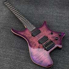 Grote Purple Burst Koa top Headless Electric Guitar Gloss finish Black Hardware