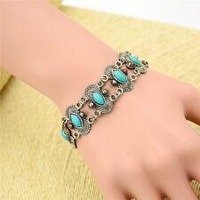Women Jewelry Bangle Cuff Natural Turquoise Bracelet Tibetan Silver Chain