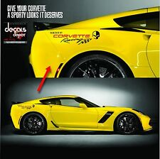Corvette Racing 1 pair logo Vinyl Graphic Decals C3 C4 C5 C6 C7 ZO6 ZR1 Stingray