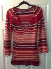 Wooden Ships Red, Orange and White Striped Open Knit V-Neck Sweater Size S/M