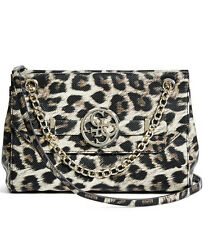 NWT Guess Katlin Flap Crossbody Handbag Chain strap Animal Leopard print