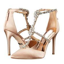 Womens Rhinestones Pointed Toe Satin Shoes High Heel Party Bridal Stilettos New