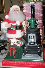 Holiday Scene Animated Musical Santa With Pot Belly Stove