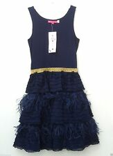 NWT Derhy France Couture $$$ Girls 10 Stunning Blue Feather Pageant Party Dress