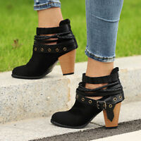 Women Casual Winter Retro Ankle Boots Strappy Mid Block Heel Zipper Shoes