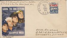 WW2 1945 US APO PATRIOTIC illustrated  COVER to Illinois with POSTAGE FREE STAMP
