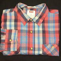 Levi's Medium Red & Blue Checked Short Sleeved Shirt Genuine Mens Logo