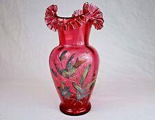 Large Antique Vase 1880s ~ Fenton, Coralene On Transparent Cranberry Glass #JS21