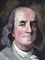 Ben Franklin - Acrylic Portrait Painting - (9 x 12 inch) by John Wallie