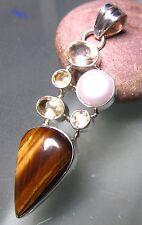 Sterling silver tiger's eye, freshwater pearl & cut citrine gemstones pendant.