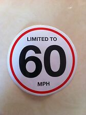 2 X 150 Mm Vehicle Speed Limited To 60 Mph Restriction Stickers Vinyl Van Truck