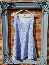 BNWOT NEW ASOS Luz Azul Blanco Gris Floral Fit & Flare Corto Lindo Vestido Talla 12