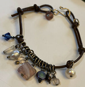 Women Sterling Silver 925 And Leather Multi Stone Charm Hook Clasp Bracelet 8.5'