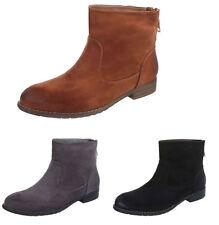 Women Suede Booties Zip Warm Wide Fitting Casual Boots Block Low Heel Shoes Size