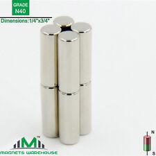 "8-count neodymium N40 Ndfeb cylinder magnets 1/4 x 3/4"" (true N40)"