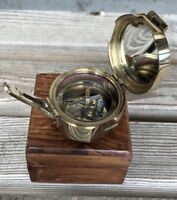 """Solid Brass Nautical 2"""" Brunton Compass in Wood Box- STANLEY LONDON"""