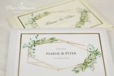 Personalised Watercolour Botanical Geo Wedding Guest Book - Choice of colours