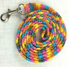 DOG LEASH 637  BRIGHT PINK TURQ MANGO crochet 6 foot w/ metal swivel bolt snap