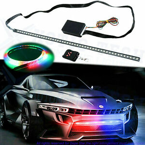 7 Color RGB 48SMD LED Knight Rider Strip Under Hood Behind Grille Light Bar 24''
