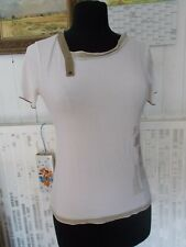TOP Tee shirt coton blanc stretch COP COPINE BOCAL T.2 36/38 manches courtes