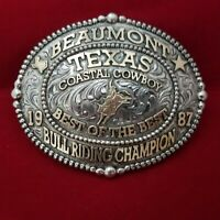 RODEO BUCKLE VINTAGE 1987 BEAUMONT TEXAS BULL RIDING CHAMP. SIGNED~ Engraved 757