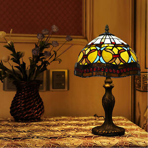 Tiffany Antique Style 10 Inch Hand Crafted Glass Table Desk Bedside Lamp UK