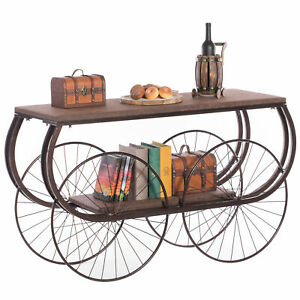 Two Tier Wagon Style Industrial Wooden and Metal Side End Table with Big Wheels