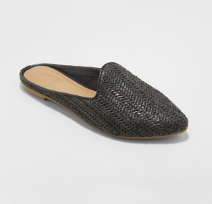 Womens' Violet Woven Backless Mules Universal Thread Black Size 10*