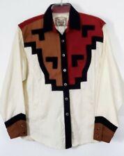 Vintage Wrangler silver Lake Cowboy Shirt Aztec Western  Size M Women. Cream/Red
