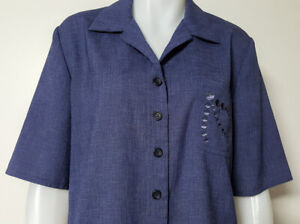 THE DRESS COMPANY by STITCHES Womens 14 Top Shirt Vintage 80s Button Front Blue