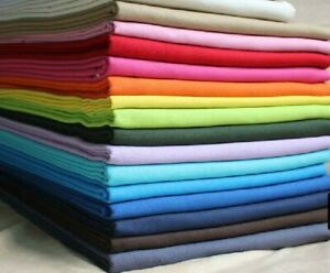 100% Cotton Fabric Plain Solid Colours for crafts and quilting Sheeting