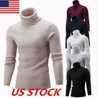 US Mens Roll Turtleneck Sweater Shirt Pullover Tops Long Sleeve Slim Knitted