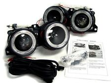 GLASS Lens DEPO 83-91 BMW E30 Angel Eye Halo Ring Projector Black Euro Headlight