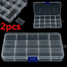 2Pcs Adjustable 15 Compartment Plastic Fly Fishing Lure Hook Assortment Bait Box