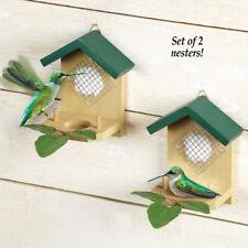 Set of 2 Wood & Cotton Hanging Hummingbird Nesters