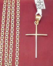 10k Yellow Gold Religious Jesus Thin Cross Pendant Gucci chain 18 INcH Unisex