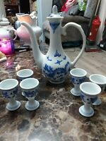 Fabulous & Unusual Vintage Chinese Pitcher & 6x Cups All In Lovely Condition....