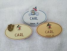 Rare 3 DISNEY WORLD Cast Member NAME TAGS 80's & 25th Anniversary Carl w/ PIN