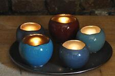 5x Windlicht Teelicht mit Teller Set 6 teilig Keramik  BRYNXZ Blau Grau Rot
