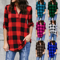 Plaid T Shirt Long Sleeve Sweater V-Neck Women Blouse Casual Loose Long S-5XL
