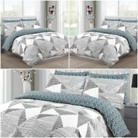 100%Cotton Geometric Stripe Duvet Cover Set High Thread Count Single Double King