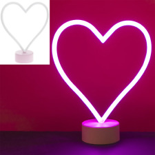 HEART SHAPED PINK NEON LAMP BEDROOM ACCESSORY CHILDREN'S NOVELTY LAMP GIFT
