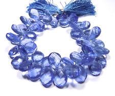 Tanzanite Gem Hydro Quartz Pear Rose Cut Briolette Beads 10x14mm 8 Inch Strand
