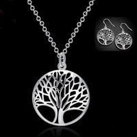 925 Sterling Silver Tree of Life Necklace Pendant Earrings Charm Set Jewelry
