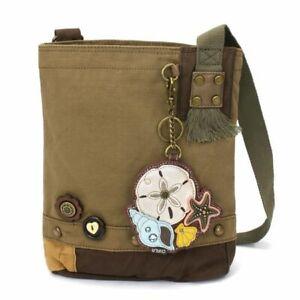 New Chala Handbag Patch Crossbody Bag Canvas gift Olive Green SAND DOLLAR Shells