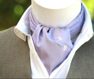 Men's Cravat Ascot Purple Embroidery Men's Tie Silk Day Cravat Ascot Men's Tie