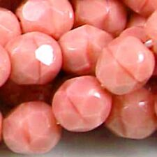 25 Firepolish Czech glass Round Pink - Coral 6mm