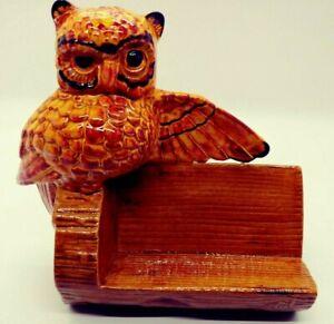 Vintage Ceramic Owl   Business Card Holder