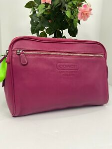 """Coach Leatherware Toiletry Case 12"""" Travel Zip Clutch Pink Leather 5068 B15"""