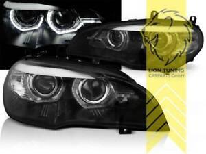 LED Angel Eyes Scheinwerfer echtes TFL für BMW X5 E70 schwarz XENON für AFS